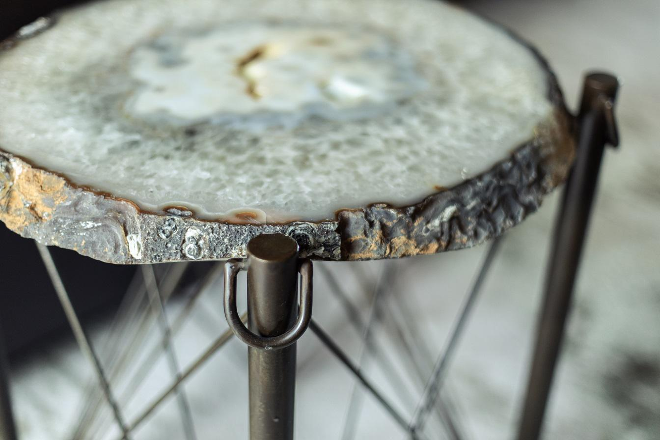 Organic, textured agate accent table with metal frame