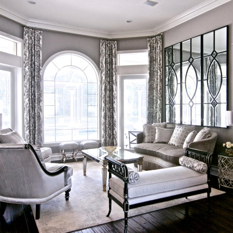 Palm Harbor Residence, Living Room, Sliver and Gray Palette with Gold Accents