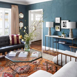 Elevated Bohemian Living Room with Lime Wash Paint