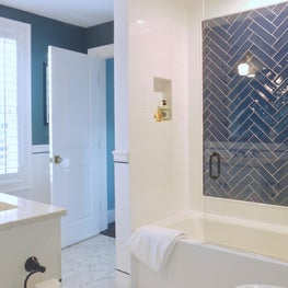 Blue and White Herringbone Boys Bath with Porcelain Chevron Floors