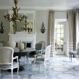 Dining Room with painted floor in Delaware.