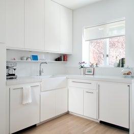White Kitchen Cabinets, Coffee Shelf, Apron Sink