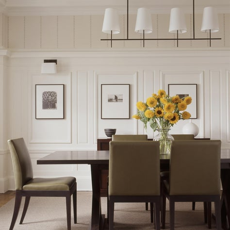 NYC Apartment Dining Room, ceiling beams, white walls, neutral color palette