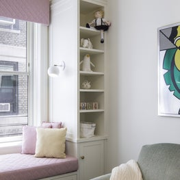 Upper West Side Apartment Kids Bedroom Window Seat and Bookcase