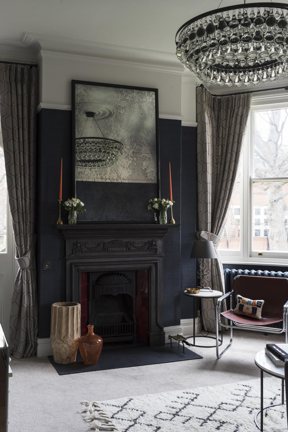 Brook Green Apartment, London - Pear drop chandelier and bespoke antique mirror