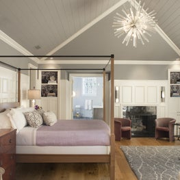 Master bedroom with vaulted ceilings, four poster bed, Deborah Sharpe Linens