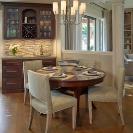 Flexible Dining Room features expanding table and over looks Living Room
