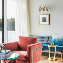 LAKE HOUSE MODERN LIVING,  DAYBED, RECLAIMED WOOD FLOORS, SATURATED COLOR VELVET