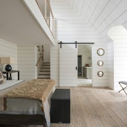 Playful teen bedroom with neutral furnishings & shiplap; Houston, TX