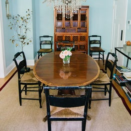 Historic House on the Hill, Boulder Colorado - Dining Room with biedermeier dining table and dining chairs with rush seats