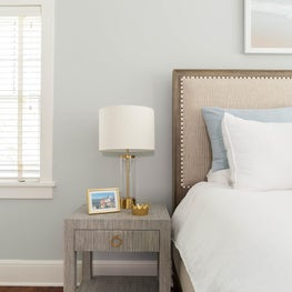 Soft  and soothing palette creates a peaceful bedroom
