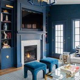 Trellis Home Design_Blue Family Room Fireplace