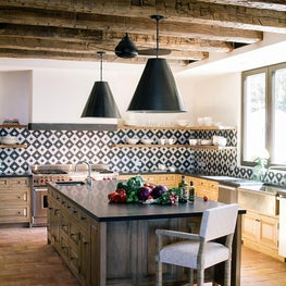 Kitchen, black and white tile, vintage beams