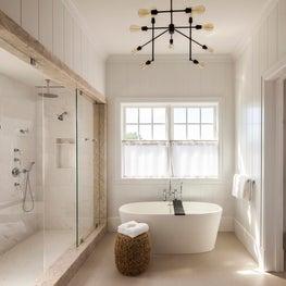 Hamptons Residence, Master Bathroom w/ neutral palette, freestanding tub