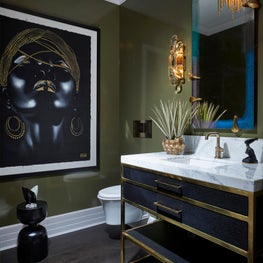 Powder Room with Flair and Dramatic Art