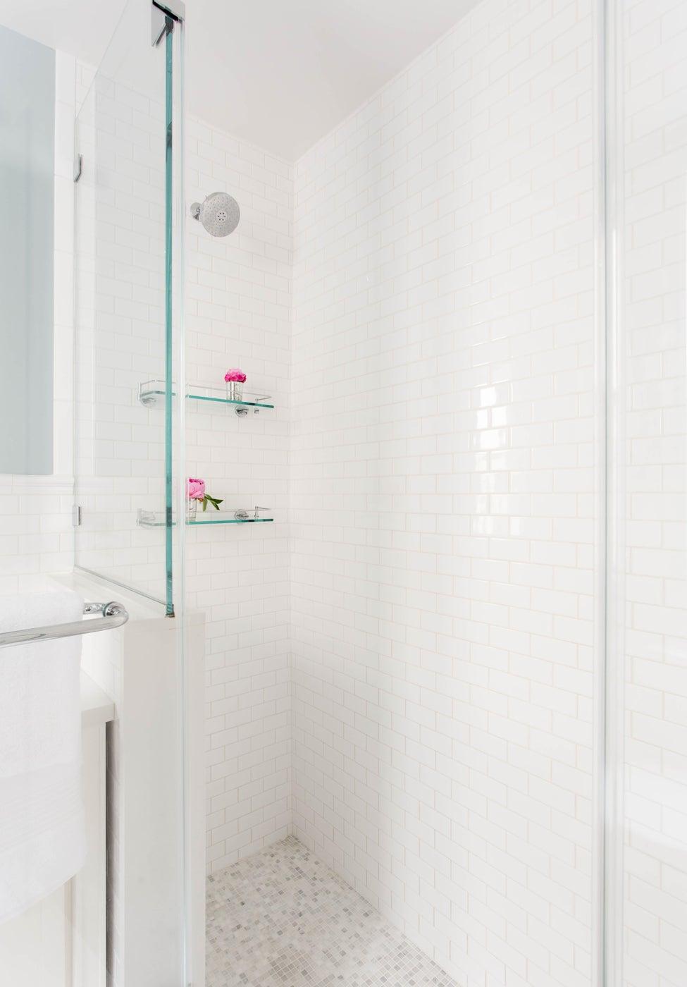 Bathroom Tile...Glass Doors-Shelves