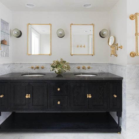 Master Bathroom Featuring Custom Flame-Blackened Vanity with Marble and Brass