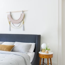 Bright San Francisco Master Bedroom with Grey-Blue Upholstered Headboard