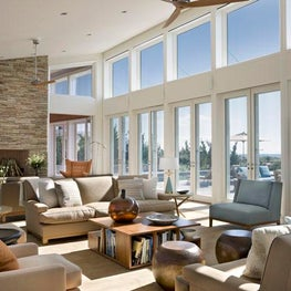 Hamptons Beach House Great Room, casual open plan, beach colored palette.