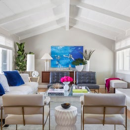 A contemporary yet timeless living room for adult entertaining