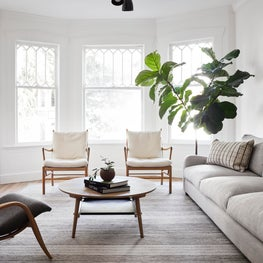 Victorian living room, neutral palette, clean interiors, transitional, greenery