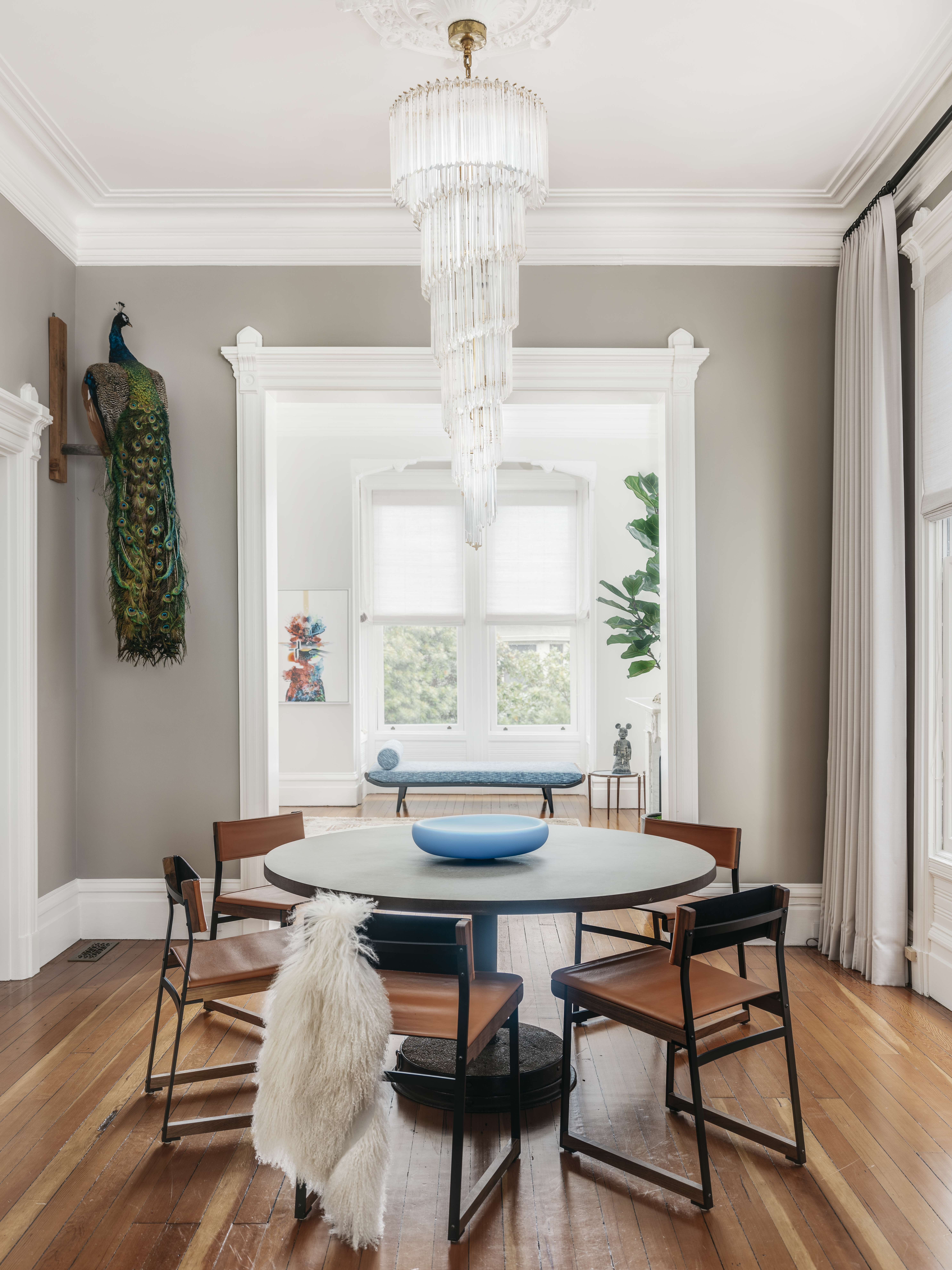 Upper Haight Edwardian Remodel of a Dining Room with a vintage Venini Chandelier.