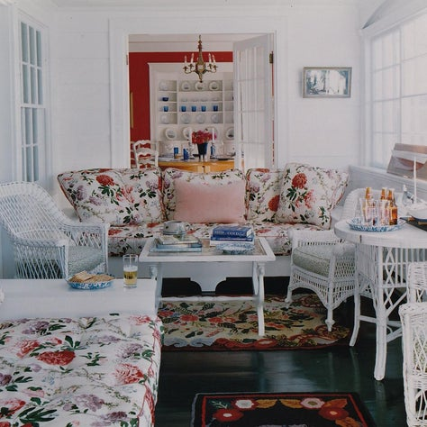 Maine Porch with Wicker and Prints