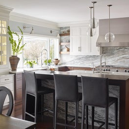 Contemporary Farmhouse Kitchen with Built in China Cabinet