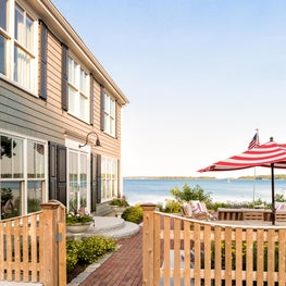 Front Facade with Patio and Water Views at Waites Landing Waterfront, Falmouth