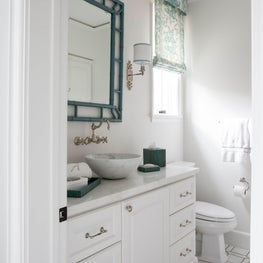 Guest bath- watermark floor tile with turquoise accents
