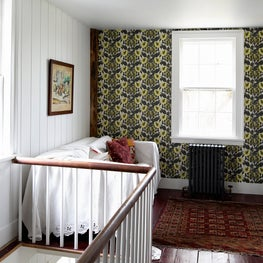 Connecticut Farmhouse, Stair Landing, Custom Wallpaper