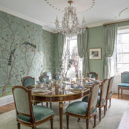 Beacon Hill Dining Room with Handpainted Silk Wallpaper and Louis XVI Table