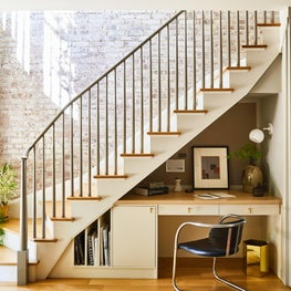 Hudson Street Brownstone I Staircase Nook | Exposed Brick | Office | Desk Nook
