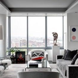 Ritz Carlton Residences, Boston; Living Room with Venetian Plaster ceilings