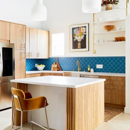 Modern Kitchen with Reeded Island and Colorful Backsplash
