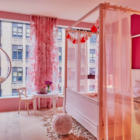 Fairytale fit for a princess in this blush and pink cocoon by InSpace NY Design