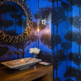 Dramatic powder room with bold statement wallpaper in contemporary home design