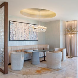 Cosmopolitan of Las Vegas - glass dining table & Murano chandelier & palm lamp