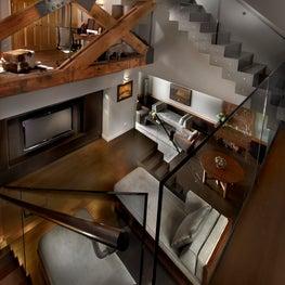 School House Loft / Living Room & Staircase