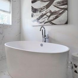 Wilmette Modern Home, Modern Master Bathroom Freestanding Tub