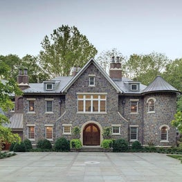Stone Country Estate Courtyard and Front Elevation