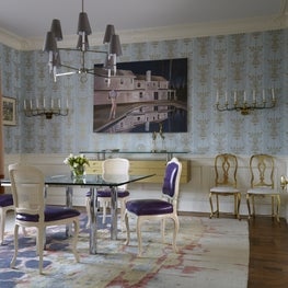 Greenwich Whimsy: Custom designed rug with vintage chairs in purple leather