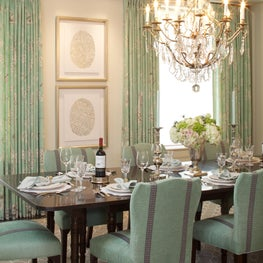 Aqua and grey dining room