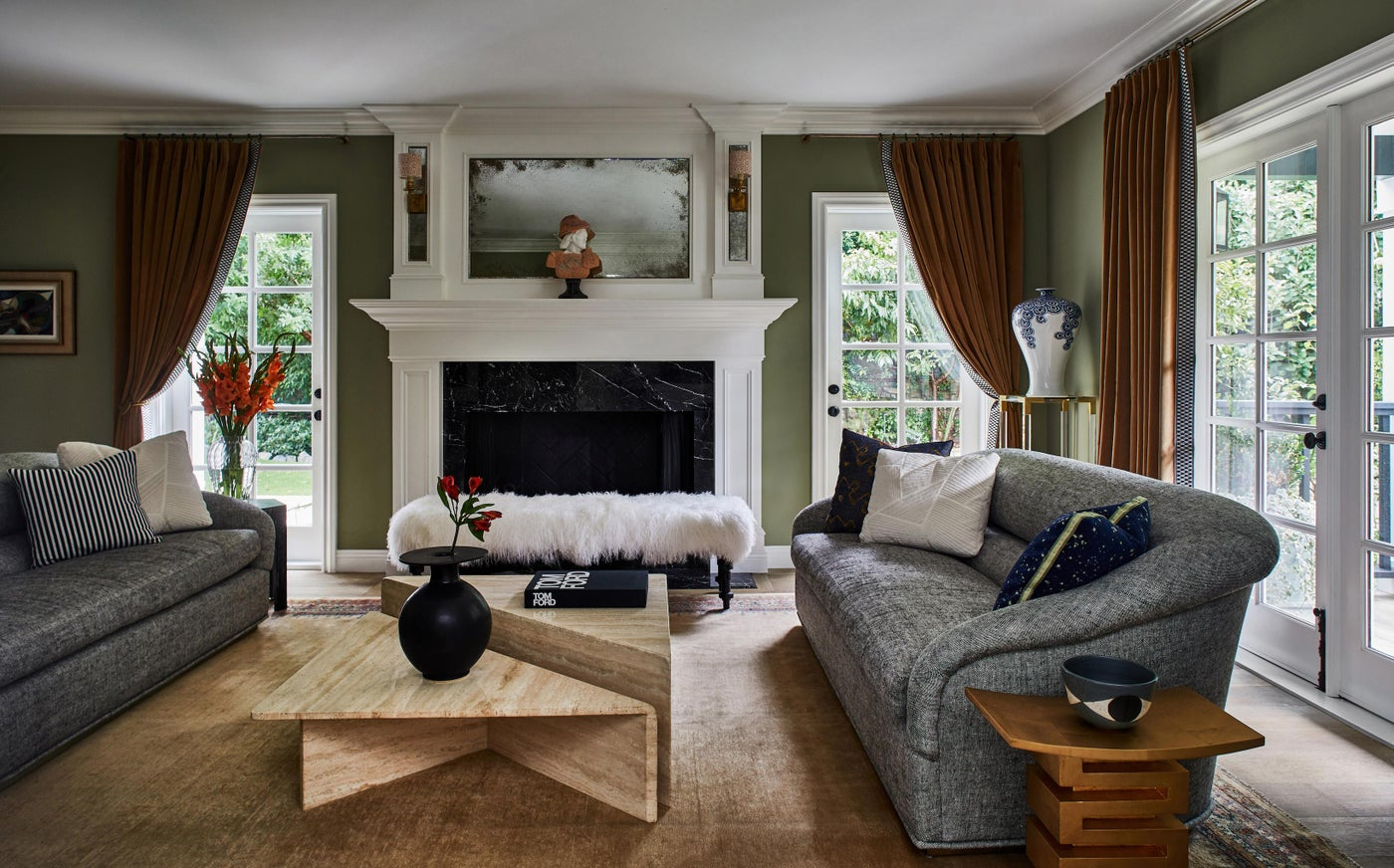 Eclectic Living Room with Vintage 1970s Tables & Gilded Accents