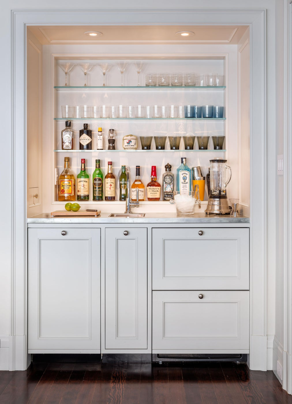 The Wet Bar hides a refrigerator and an ice maker