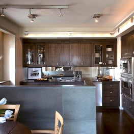 Upper West Side Apartment, Kitchen with dark-stained Anigre wood cabinets