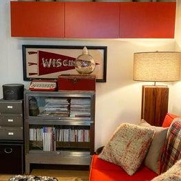 An office dressed in orange