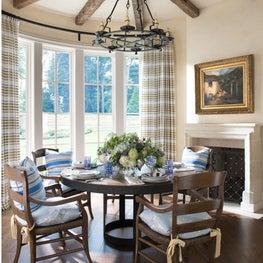 Rustic breakfast room with bay window