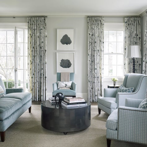 Living Room using blues in Southport, Connecticut