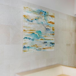 """Satin Sea"" The spa at the Four Seasons St. Louis is a place of relaxation and pampering, I created a collection with subtle color combinations of yellows, gray, whites, creams, and blues to reflect all the tranquility you find in this space."